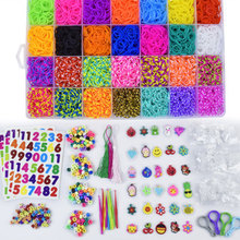 10000pc DIY Toy Rubber Loom Bands Set Kid DIY Bracelet Silicone Rubber Bands Elastic Rainbow Weave Loom Bands Toy Children Goods