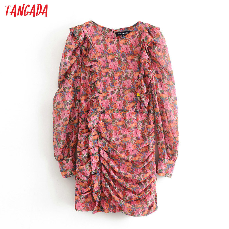 Tangada 2020 Fashion Women Flowers Print Mini Dress Puff Long Sleeve Ladies Vintage Pleated Short Dress Vestidos 3H53