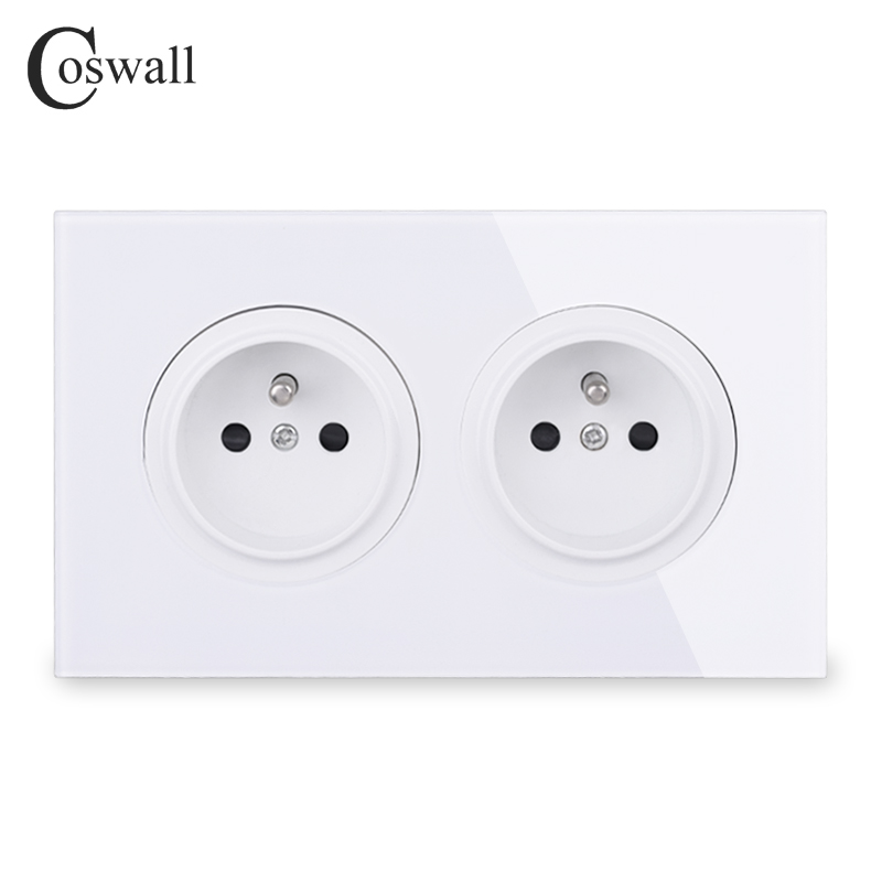Coswall Crystal Tempered Pure Glass Panel 16A Double French Standard Wall Power Socket Grounded With Child Protective Lock