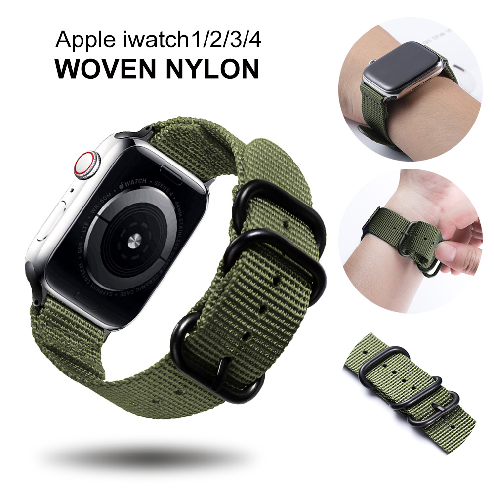 Nylon Watchband For Apple Watch Band Series 5 4 3 2 1 Sport Bracelet 42mm 44mm 38mm 40mm Strap For Iwatch Band Accessories