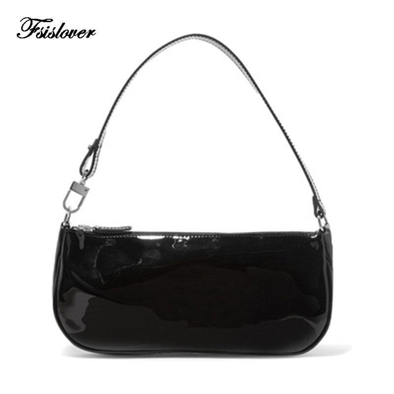 Vintage Baguette Crocodile Pattern Women Shoulder Bags Retro Split PU Leather Bags Solid Ladies Small Messenger Handbag Female|Shoulder Bags|Luggage & Bags - title=
