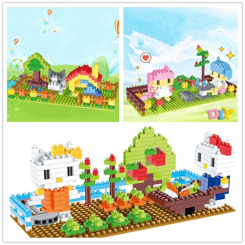 My small world particles assembled building blocks toys Childrens DIY spelling cartoon scene teaching