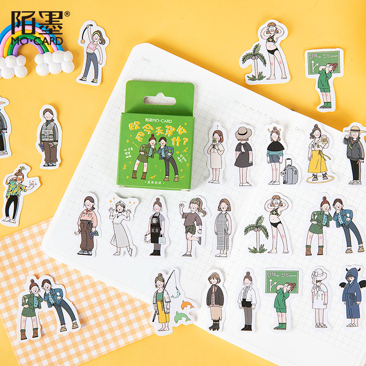 46 Pcs What To Wear Today Cute Boxed Kawaii Girl Decoration Stickers Planner Scrapbooking Stationery Japanese Diary Stickers