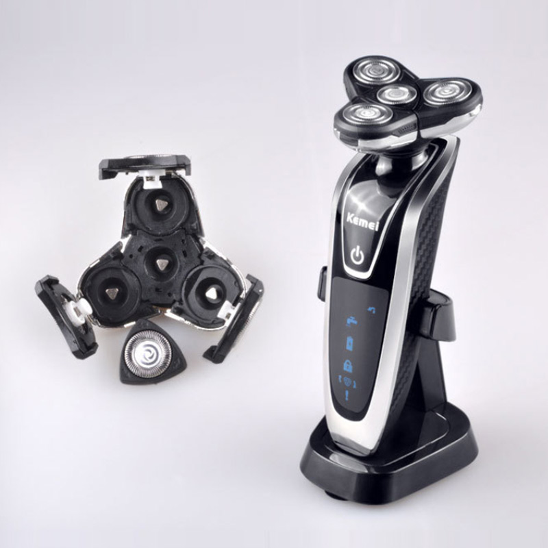 Image 2 - Kemei Electric Shaver 4D Floating Triple Blade Electric Razor Men Face Care Washable Rechargeable 4 In 1 Hair Trimmer 40D-in Electric Shavers from Home Appliances