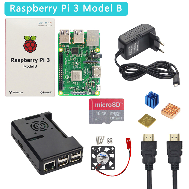 Raspberry Pi 3 Model B+ Plus Starter Kit + ABS Case + 32 GB SD Card + 3A Power Adapter + Cooling Fan + Heat Sink + HDMI Cable