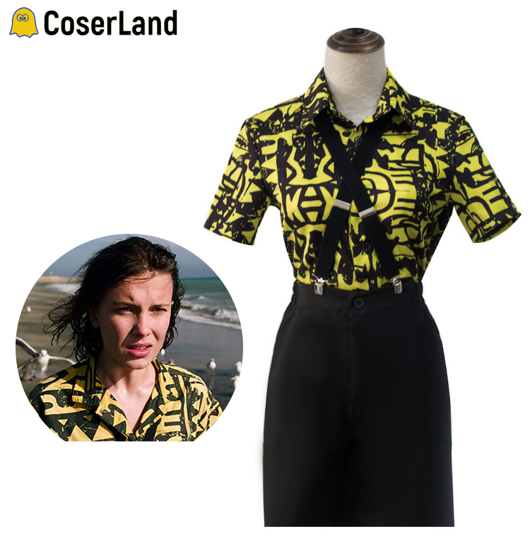 Stranger Things Eleven Cosplay Costume Girl Yellow Printed Collared Shirt Women 80s Dress Outfit Suit Mardi Gras Clothes Set
