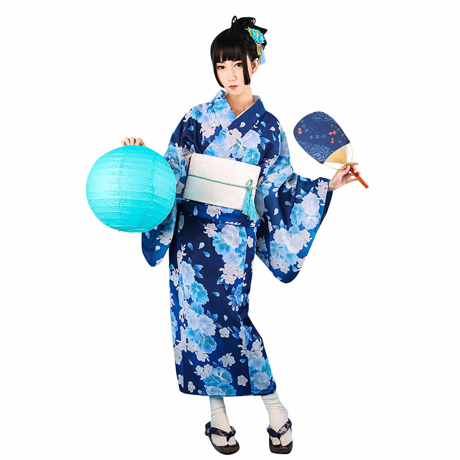 Women's Blue Camellia Flower Print Yukata Kimono Sweet Japanese Girl Cosplay Costume Firework Festival Summer Wear