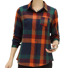 Classical Red Yellow Plaid Shirts Women Smart Casual Check Pattern Cotton Tops Turn Down Collar Blouse With Breast Welt Pocket girls plaid blouse 2019 spring autumn turn down collar teenager shirts cotton shirts casual clothes child kids long sleeve 4 13t