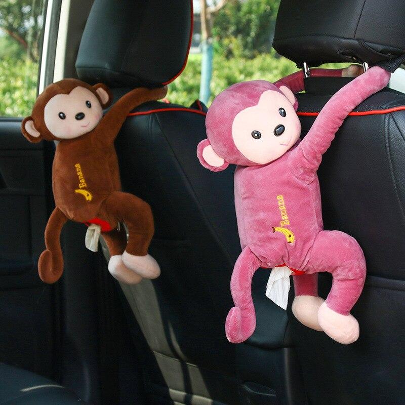 Bonito macaco caixa de tecido do carro suspensão caixa de tecido portátil casa escritório do carro caixa de tecido do carro toalha rack caixa acessórios do carro