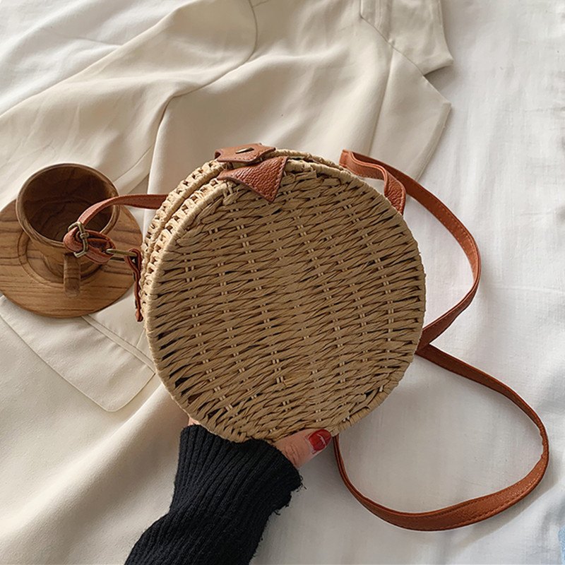 DikizFly Round Woven Straw Bags For Women Handbags Crossbody Bags Ladies Beach Bag Female Small Rattan Straw Bag Shoulder Purse