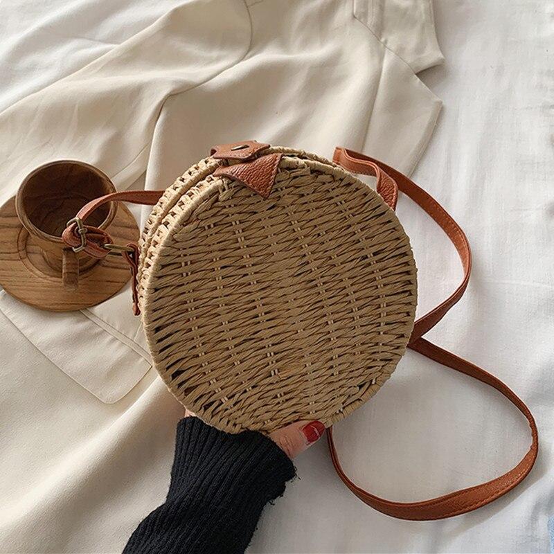 DikizFly Round Woven Straw Bags For Women Handbags Crossbody Bags Ladies Beach Bag Female Small Rattan Straw Bag Shoulder Purse