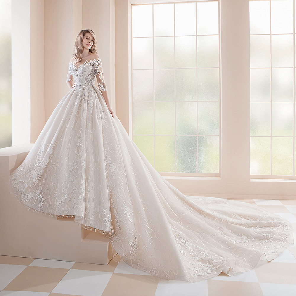 2020 Princess Wedding Dresses Vestidos De Casamento Three Quarter Sleeve Button Up Back Beading Crystal Appliques Lace Gowns