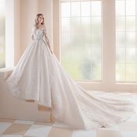 2020 Princess Wedding Dresses Vestidos De Casamento Three Quarter Sleeve Button Up Back Beading Crystal Appliques Lace Gowns