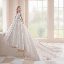 2020 Prinses Trouwjurken Vestidos De Casamento Drie Kwart Mouw Button Up Terug Kralen Crystal Applicaties Lace Gowns