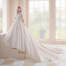 2020 공주 웨딩 드레스 vestidos de casamento 3 분기 슬리브 버튼 위로 구슬 장식 크리스탈 아플리케 레이스 가운