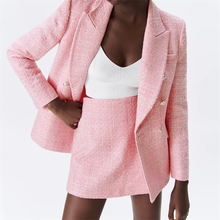 TRAF Women 2021 Fashion Spring Patch Pocket Texture Double Breasted Small Fragrant Style Suit Long Sleeve Jacket Streetwear