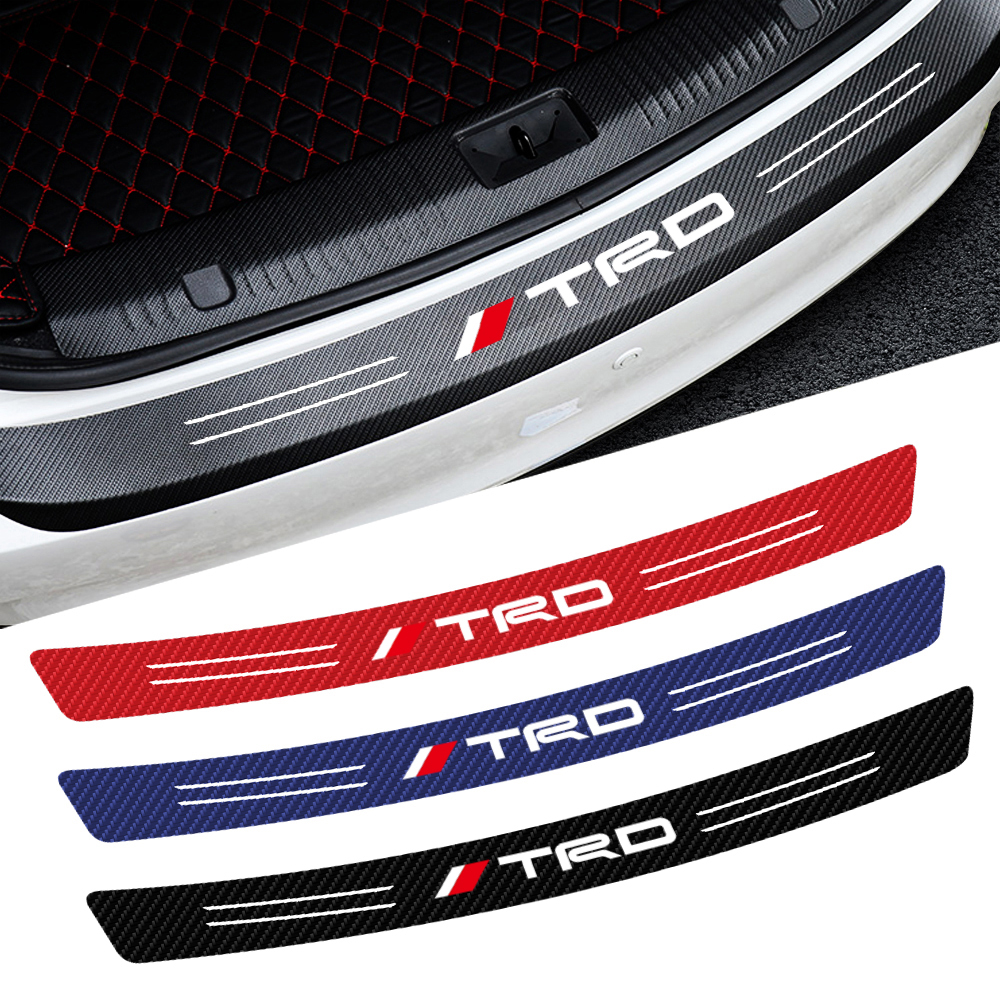 Car-Styling Carbon Fiber TRD Logo Emblem Tail Trunk Protective Sticker For Toyota CROWN REIZ PRIUS COROLLA PREVIA Camry
