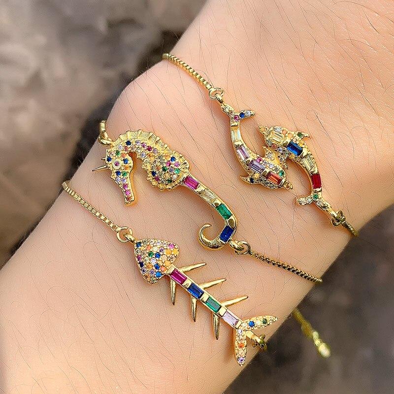 Lucky Eye Animal Charms Bracelet Golden Chain Colorful Micro Zircon Seahorse Crab For Women Men Adjustable LE190