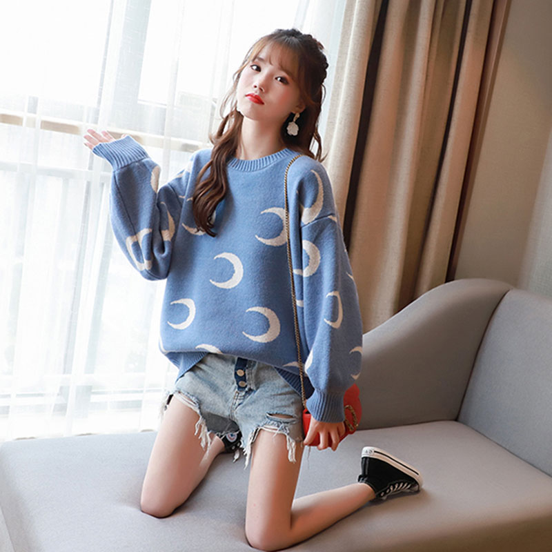 Loose Fashion Knitted Pullover Moon Printed O-Neck Long Sleeve Pullovers And Sweaters Knitting Blue Plus Size Ladies Jumper Tops