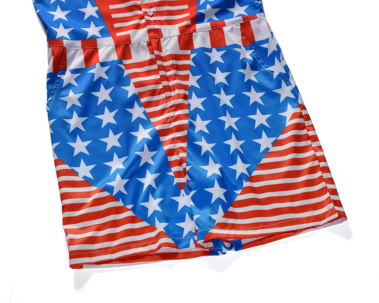2019 New Style Onesie Europe And America Large Size Men And Women 3D Digital Printing Onesie America National Flag