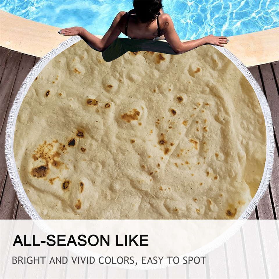 BeddingOutlet Burrito Beach Towel Tassels Corn Tortilla Blanket Food 3D Funny Microfiber Bath Towel Round Mat 150cm Dropshipping