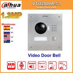 Dahua Original VTO2000A-S1 timbre de puerta de vídeo POE Metal IP Villa al aire libre Estación de vídeo intercomunicador visión nocturna reemplazar DH-VTO2000A