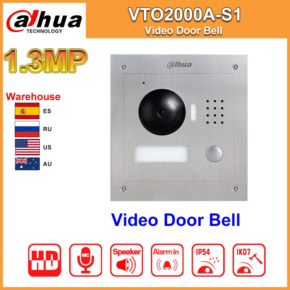 Original Video Door Bell Dahua VTO2000A-S1 POE Metal IP Villa Outdoor Station Video Intercom Night Vision Replace DH-VTO2000A