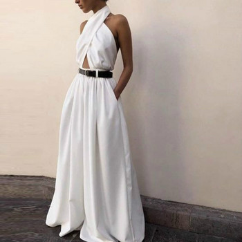 2020 New Womens Jumpsuit Sexy Sleeveless Halter Neck Backless Jumpsuit White Long Wide Leg Pants Fashion Party Mono para mujer cut out neck wide leg halter jumpsuit