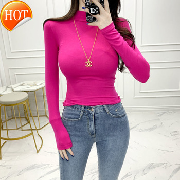 Korea half high neck tights women's long sleeves with winter and autumn solid slim fit bottom - discount item  20% OFF Sweaters