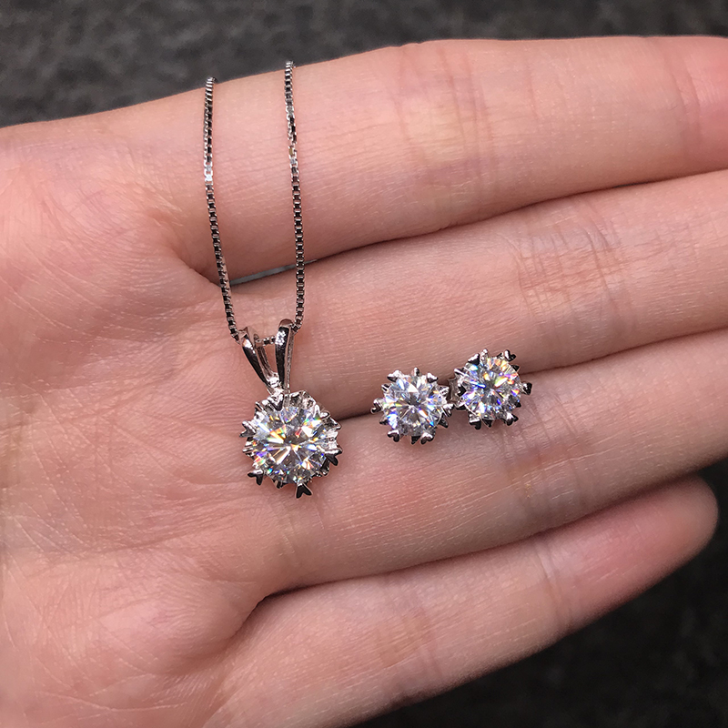 BOEYCJR 925 Silver 1ct D color Moissanite VVS Fine Jewelry Diamond Necklace&Earrings Jewelry Set for Women Anniversary Gift