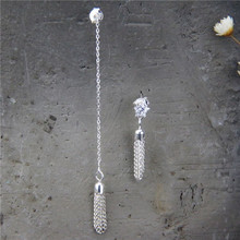 925 Sterling Silver Earring 82mm 30mm Shape Of Star Tassel Pure Earline Asymmetric Boho Design