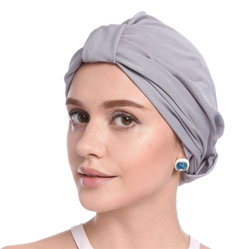 2019 Women Muslim Headscarf Hat Solid Modal Hijab Turban Caps Thin Summer Elastic Head Wrap Indian Hats Inner Bonnet For Lady