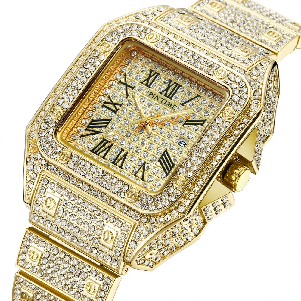 HIP HOP Gold Watch Men Square Diamond Men Watches Top Brand Luxury Iced Out Male Quartz Watch Calendar Wristwatch Mens Clock