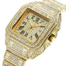 HIP HOP Gold Watch Men Square Diamond Men