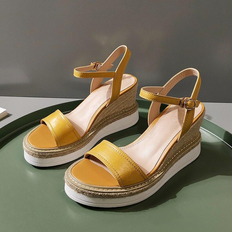 Sandales à plate-forme compensée en cuir véritable pour femmes à bout ouvert d'été élégantes pour femmes robe pompes loisirs chaussures confortables sandalias