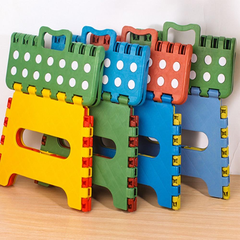 1PCS Portable  Small Dot Plastic Folding Stool Handle Child Stool Colorful Bench