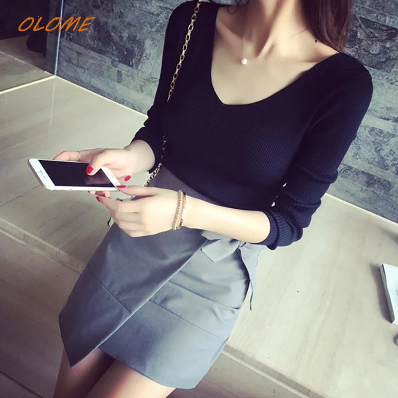 Womens Sweaters 2019 Autumn Knitted Fashion V Neck New Winter Tops For Women Pullover Jumper Pull Femme New  Christmas Sweat