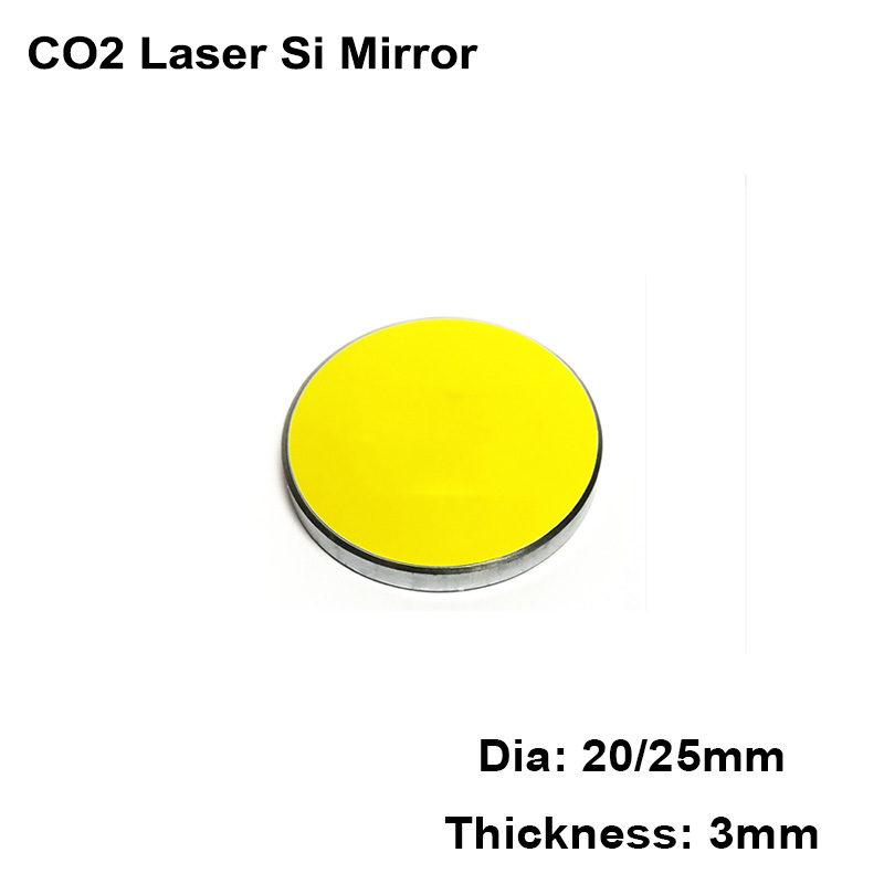 3pcs Silicon Si Laser Mirror Dia 20mm 25mm Reflective Lens Reflector CO2 Cutting Engraving Machine Laser Engraver Cutter Parts
