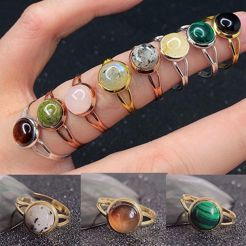Открытое кольцо Momiji с натуральным камнем для женщин, ручная работа, богемное ювелирное изделие, подарок, кристалл, лунный камень, Tigereye, сваде...