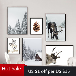 Scandinavian Poster Winter Forest Moose Christmas Pinecone Nordic Style Print Art Canvas Painting Wall Decor Pictures Room Decor