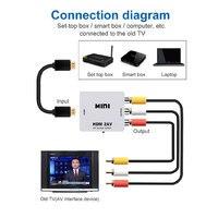 HDMI-compatible TO AV Scaler Adapter HD Video Composite Converter Box HD to RCA AV/CVSB L/R Video 1080P Support NTSC PAL 2