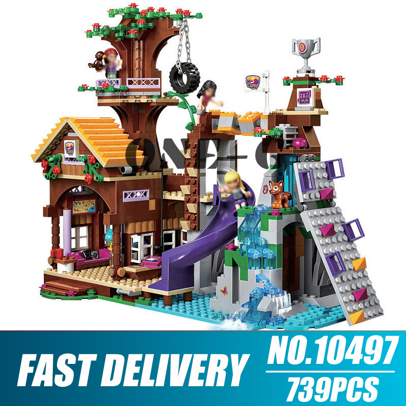<font><b>10497</b></font> 739pcs Legoinglys Friends Adventure Camp Tree House Stephanie Emma Joy Girls 3 Figures Building Block Bricks Toy image