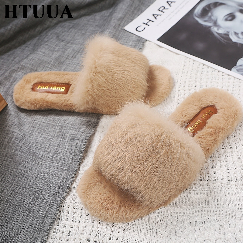 HTUUA Fur Slippers Shoes Woman Winter House Plush Furry Fluffy Women Indoor Warm Flat Slides
