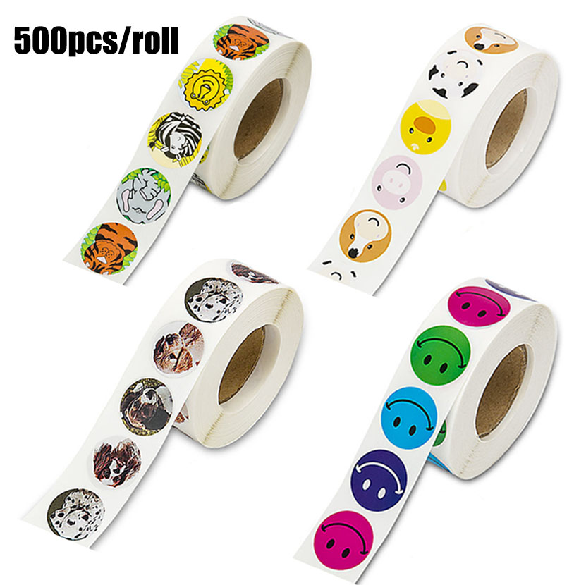 500pcs Creative Animals Cute Stickers 1inch Labels Reward Sticker For School Teacher Kids Smiley Stationery Sticker