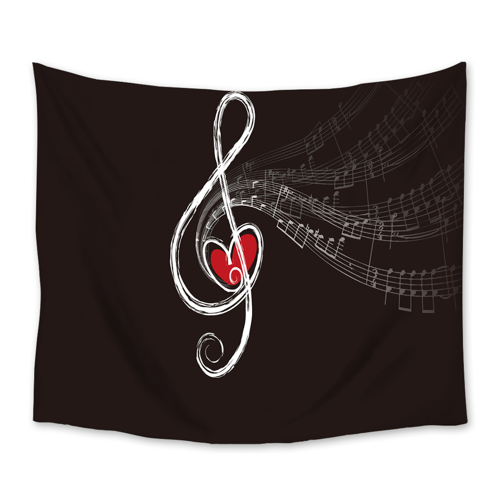 Tapestry Red Heart Treble Love and Music Notes Song Romantic Home Decor Wall Art Hanging for Living Room Bedroom Dorm image
