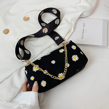 Fashion Women Daisy Flower Shoulder Bag Simple