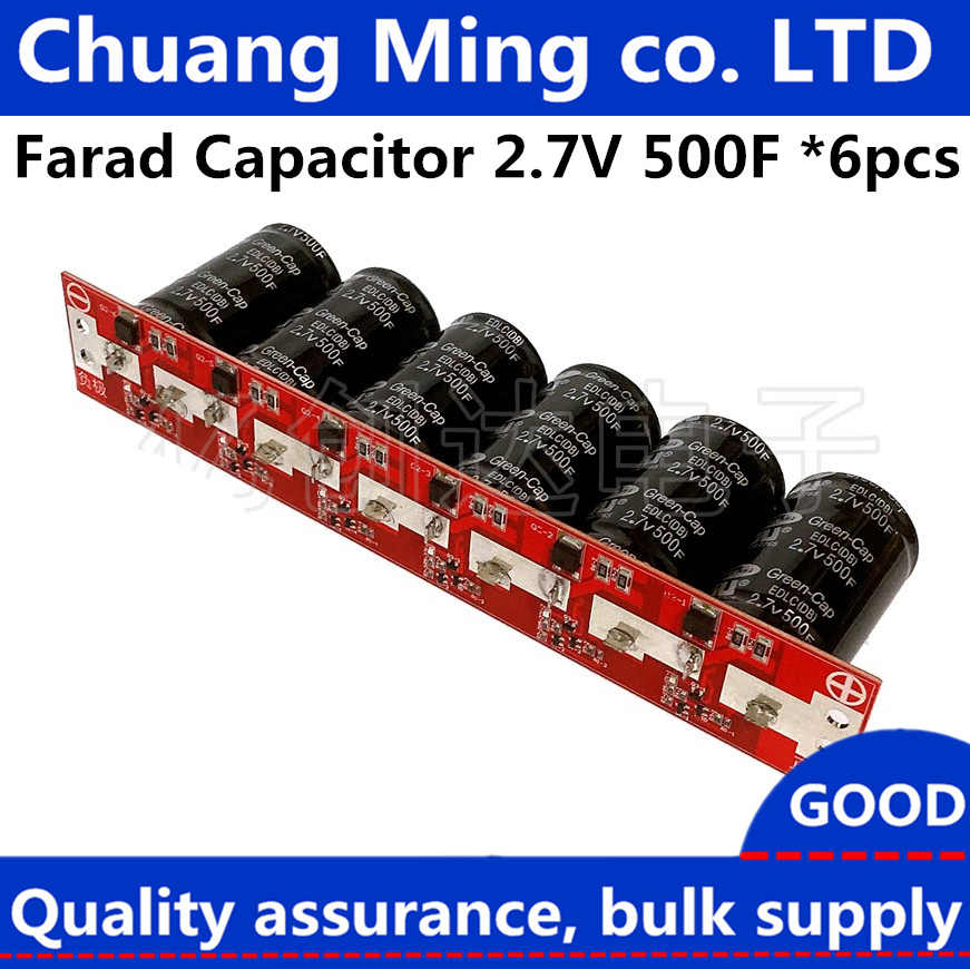 Farad Capacitor 2.7V 500F 6 Pcs//1 Set Super Capacitance With Protection Board