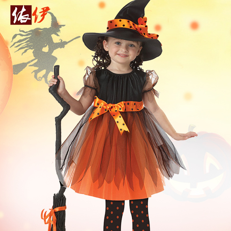 Children Performance Clothing Europe And America Girls Cosplay Witch Anime Dance Performance Clothing Halloween