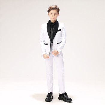 YuanLu Boys Suits Blazer Costume For Wedding Party Piano White Prince BoysDress Jacket Slim Fit Kids Suits (2T-14)