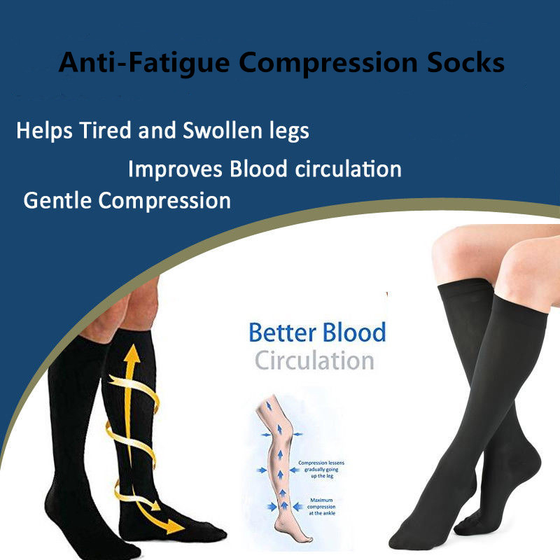 1pair Compression Socks 6color S-2XL Elastic Autumn Winter Soft Stockings Compression Unisex Anti Swelling Fatigue DVT Support